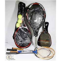 COLLECTION OF RACQUETS AND CASES.
