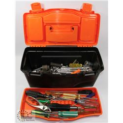 TOOL BOX FULL OF SOCKETS & SCREW DRIVERS.