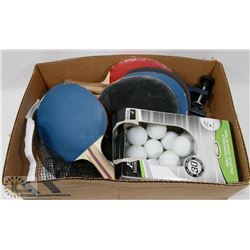 BOX W/TABLE TENNIS NET, BALLS AND