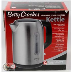 NEW BETTY CROCKER STAINLESS STEEL ELECTRIC KETTLE