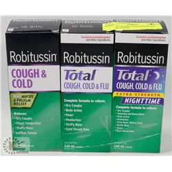 LOT OF 3 ROBITUSSIN ASSORTED COUGH SYRUP
