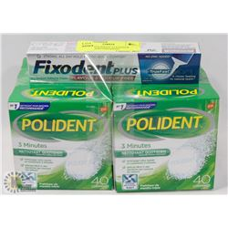 LOT OF 4 POLIDENT CLEANSER TABLETS AND FIXODENT
