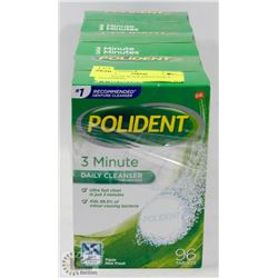 3 PACKS OF 96 POLIDENT DAILY CLEANSERS.
