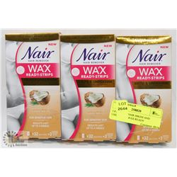 3 PACKS OF NAIR BIKINI AND UNDERARM WAX READY