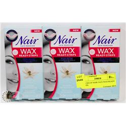 3 PACKS OF NAIR FACE WAX READY STRIPS.