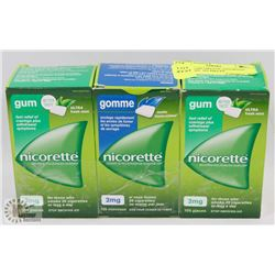 LOT OF 3 NICORETTE ASSORTED FLAVOURS. 105 PIECES