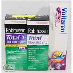 LOT OF 2 BOXES ROBITUSSIN, 1 BOX VOLTAREN
