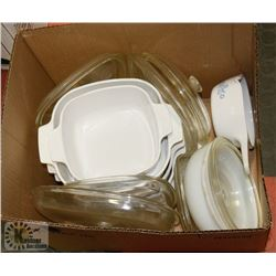BOX OF ASST BAKEWARE DISHES
