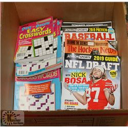 BOX OF HOCKEY, BASEBALL & FOOTBALL NEWS, AND