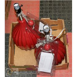 LOT OF 2 RED MODERN LAMPS, NO SHADES.