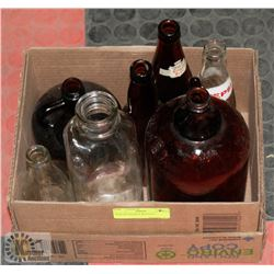 BOX OF ANTIQUE BOTTLES.