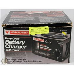 MOTOMASTER DEEP CYCLE BATTERY CHARGER WITH TIMER.