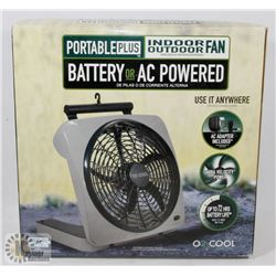 PORTABLE PLUS INDOOR/OUTDOOR FAN BATTERY OR AC