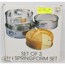 SET OF 3 TIN SPRINGFORM SET.