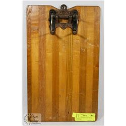 VINTAGE WOODEN CAST METAL CLIPBOARD