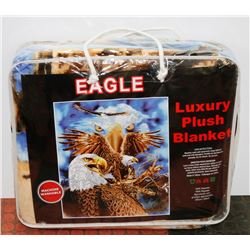 "NEW! ""EAGLE"" LUXURY PLUSH BLANKET (QUEEN)"