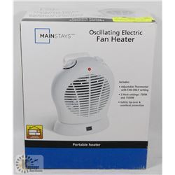 MAINSTAYS OSCILLATING ELECTRIC FAN HEATER.