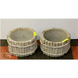 "SET OF 2 CONCRETE POTS, 11"" DIAMETER"