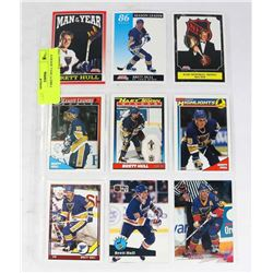 SHEET OF 9 BRETT HULL HOCKEY CARDS