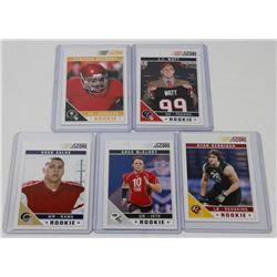 LOT OF 5 FOOTBALL ROOKIE CARDS INCL GREG SALAS