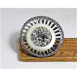 18)  VINTAGE ROUND SILVER TONE WITH
