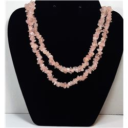"17)  POLISHED ROSE QUARTZ 36"" NECKLACE"