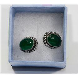 SILVER TONED GREEN ONYX STUD EARRINGS