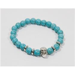 #10-NATURAL BLUE TURQUOISE BEAD BRACELET