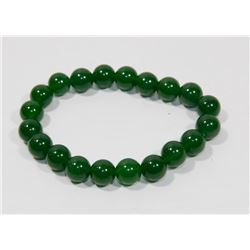 #124-NATURAL GREEN JADE BEAD BRACELET 10MM