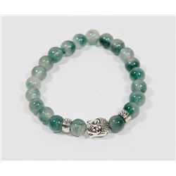 #12-NATURAL GREEN FLUORITE BEAD BRACELET