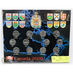 CANADIAN 2000 UNC  MILLENNIUM QUARTER SET