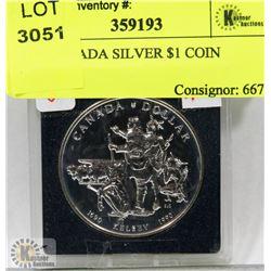 1990 CANADA SILVER $1 COIN