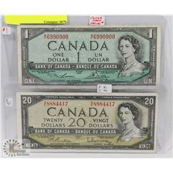 CANADA 1954 $20 AND $1 BILLS