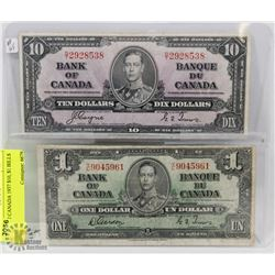 LOT OF 2 CANADA 1937 $10, $1 BILLS