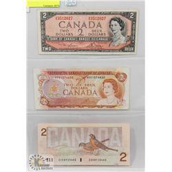 CANADA 1954-74-86 $2 BILLS