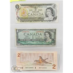 LOT OF 3 CANADA $1 AND$2 BILLS