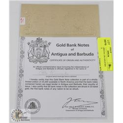 GOV OF BARBUDA 23K GOLD $30 BANK NOTE