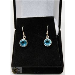 #41-BLUE CZ DANGLING EARRINGS