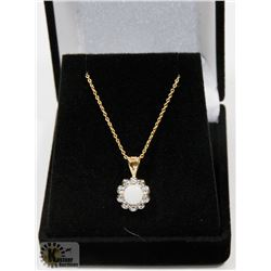 #120-WHITE  OPAL & CZ PENDANT &  NECKLACE