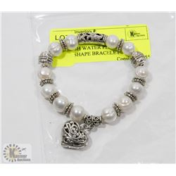 #76-FRESH WATER PEARL WITH HEART SHAPE BRACELET