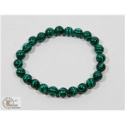 #65-NATURAL MALACHITE BEAD BRACELET 8MM