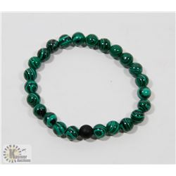 #68-NATURAL MALACHITE & MATTE BEAD BRACELET 8MM