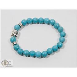 #75- NATURAL BLUE TURQUOISE BEAD BRACELET 8MM