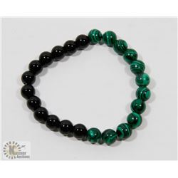 #72-NATURAL MALACHITE & MATTE BEAD BRACELET 8MM