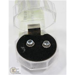 #93-BLUE CZ STUD EARRINGS