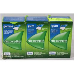 LOT OF 3 NICORETTE GUM EXTREME CHILL MINT, 105