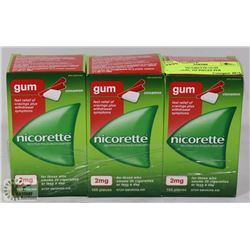 LOT OF 3 NICORETTE GUM CINNAMON, 105 PIECES PER