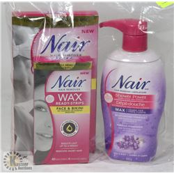 BAG OF NAIR SHOWER POWDER AND WAX READY STRIPS