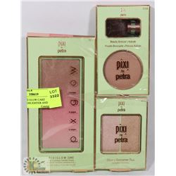 LOT OF 3 PIXI GLOW CAKE POWDER,HIGHLIGHTER AND