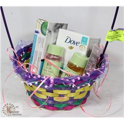 BASKET OF SOAP, LIP BALM, PIXI SKIN TREATMENT AND